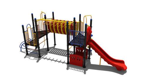 Klimtoestel met bankjes en brug - Klimtoestellen met glijbaan - Speeltoestellen - LuduQ speeltoestellen