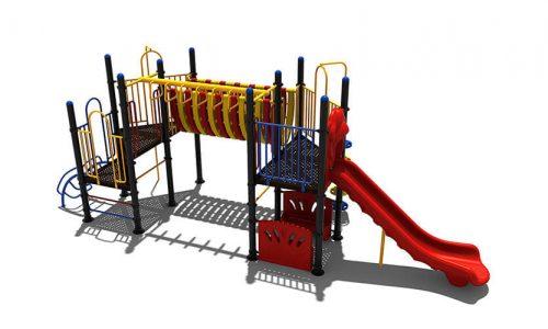 Scheveningen speeltoestel van metaal met glijbaan - Speeltoestellen - LuduQ speeltoestellen