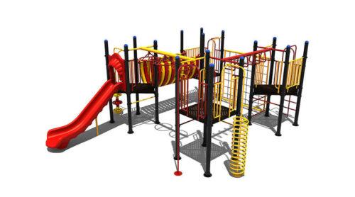 Klimtoestel met rode glijbaan en gele klimwand - Klimtoestellen met glijbaan - Speeltoestellen - LuduQ speeltoestellen