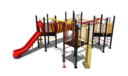 Tynaarlo speeltoestel van metaal met glijbaan - Speeltoestellen - LuduQ speeltoestellen