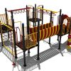 Klimtoestel met gele klimwand en rode glijbaan - Klimtoestellen met glijbaan - Speeltoestellen - LuduQ speeltoestellen