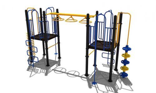Blauw klimtoestel met gele accenten - Klimtoestellen - Speeltoestellen - LuduQ speeltoestellen