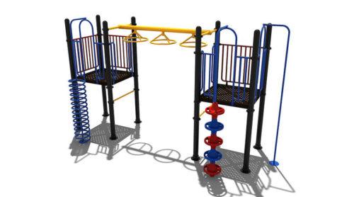 Blauw klimtoestel met gele en rode accenten - Klimtoestellen - Speeltoestellen - LuduQ speeltoestellen
