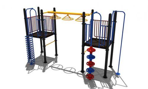 Leeds klimtoestel van metaal met uitdagende hangelementen - Klimtoestellen - Speeltoestellen - LuduQ speeltoestellen