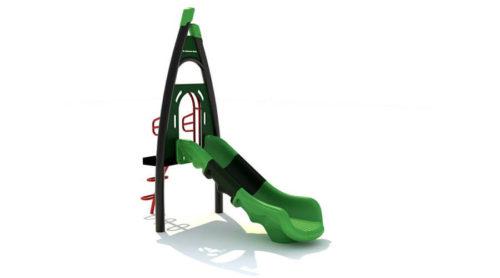 Kunststof groene glijbaan met trappetje en bord voor eigen naam - XYZ Fantasia - Speeltoestellen - LuduQ speeltoestellen