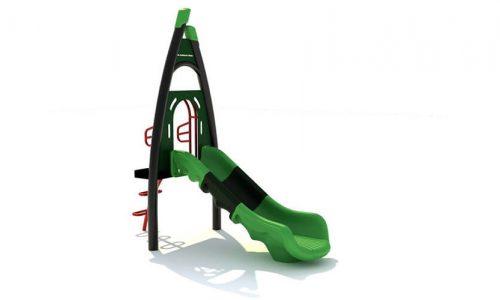 Ees kunststof groene glijbaan met trappetje en bord voor eigen naam - XYZ Fantasia - Speeltoestellen - LuduQ speeltoestellen