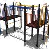 Klimtoestel met blauwe hangers en gele draaiers - Klimtoestellen - Speeltoestellen - LuduQ speeltoestellen