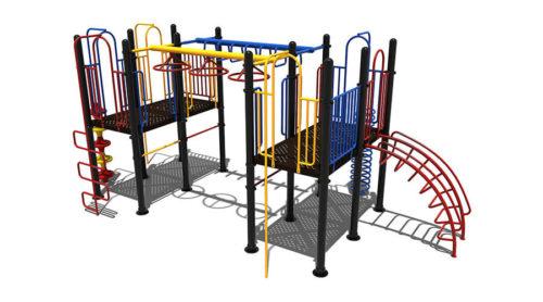 Ipswich klimtoestel van metaal met uitdagende hangelementen - Speeltoestellen - LuduQ speeltoestellen