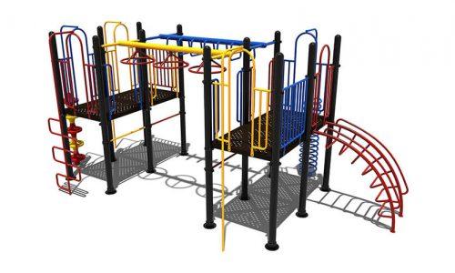 Klimtoestel met verschillende kleuren en speelelementen - Klimtoestellen - Speeltoestellen - LuduQ speeltoestellen