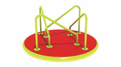 Groen met rood draaitoestel met schuine hekjes - Draaitoestellen - LuduQ speeltoestellen