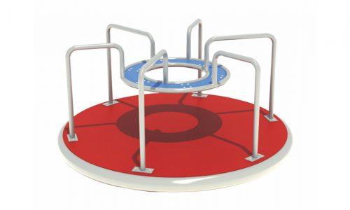 Draaitoestel met zes hekjes en rode grond - Draaitoestellen - Speeltoestellen - LuduQ speeltoestellen