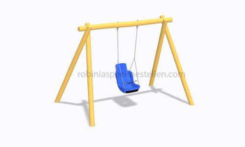 Digitaal model houten schommelframe met beveiligde kunststoffen zitting - Houten schommels - Robinia houten speeltoestellen - LuduQ speeltoestellen