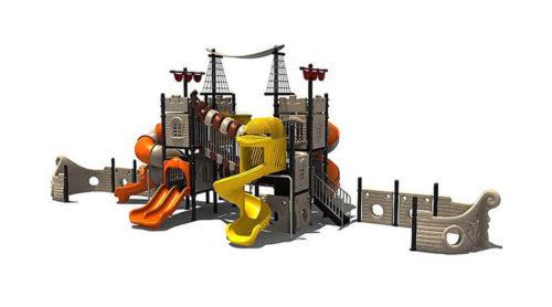 Achterkant groot klimtoestel met glijbaqan in de vorm van piratenschip - Klimtoestellen met glijbaan - Speeltoestellen - LuduQ speeltoestellen