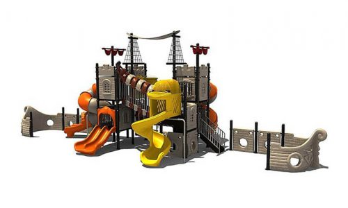 Zandvoort speeltoestel van metaal met glijbaan - piratenschip - Speeltoestellen - LuduQ speeltoestellen