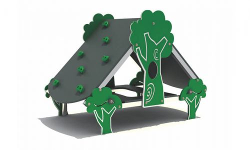 Speelhuisje met bankjes en klimdak - XYZ Fantasia - Speeltoestellen - LuduQ speeltoestellen