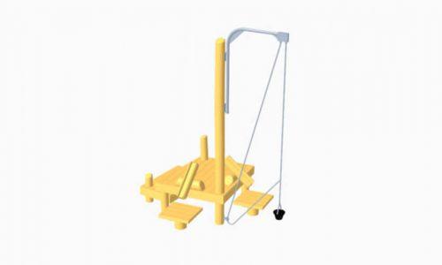 Houten plateaus met speel hijskraan - Houten speelhuisjes - Robinia houten speeltoestellen - LuduQ speeltoestellen