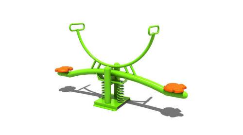 Groene wip met veerelement met oranje zittingen - Veer- en wipelementen - Speeltoestellen - LuduQ speeltoestellen