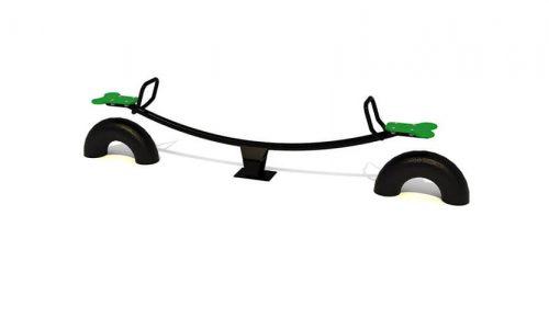 Zwarte gebogen wip met groene zittingen - Veer- en wipelementen - Speeltoestellen - LuduQ speeltoestellen
