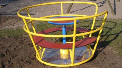Kleurrijk draaitoestel met bankje - Draaitoestellen - Speeltoestellen - LuduQ speeltoestellen