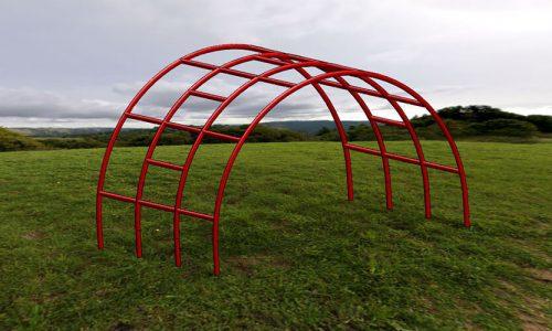 Digitaal getekende klimboog op grasveld - Klimtoestellen - Speeltoestellen - LuduQ speeltoestellen