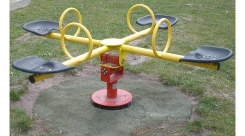 Rood met gele tuimelaar - Veer- en wipelementen - Speeltoestellen - LuduQ speeltoestellen