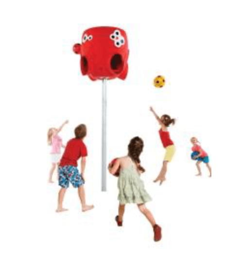 Rode kunststoffen ballenvanger met kinderen - Balsporten - Sport en spel - LuduQ speeltoestellen