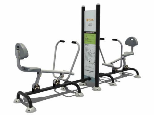 Dubbele roeimachine met instructiebord ertussen - Fitness - Sport en spel - LuduQ speeltoestellen