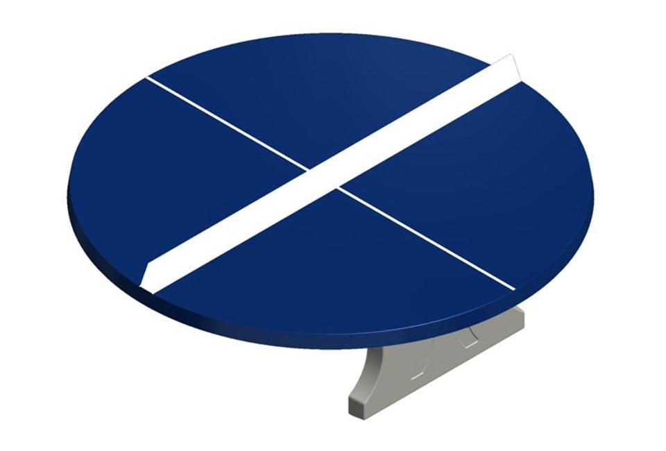 Ronde betonnen tafeltennis tafel met blauwe bovenkant - Speeltafels - Sport en spel - LuduQ speeltoestellen