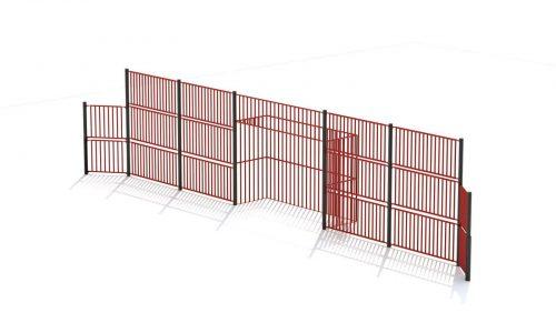 Grote rode roestvrij stalen voetbalwand met doel - Balsporten - Sport en spel - LuduQ speeltoestellen