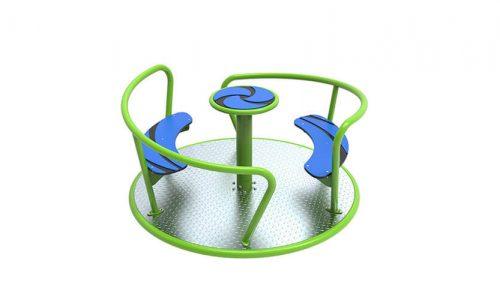 Groen met blauw draaitoestel met aluminium traanplaat - Draaitoestellen - Speeltoestellen - LuduQ speeltoestellen