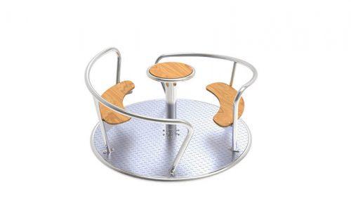 Roestvrij stalen draaitoestel met houten accenten - Draaitoestel - Speeltoestellen - LuduQ speeltoestellen
