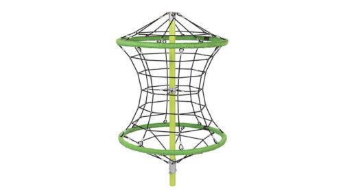 Groen klimnet met bevestigingspaal - Ruimtenetten - Speeltoestellen - LuduQ speeltoestellen