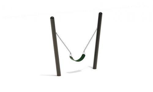 Zwart roestvrij stalen schommelframe met flexibel zitje - Schommels - Speeltoestellen - LuduQ speeltoestellen