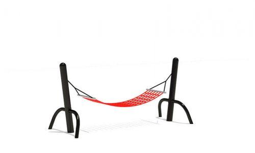 Hangmat met zwart frame en rood net - Schommels - Speeltoestellen - LuduQ speeltoestellen