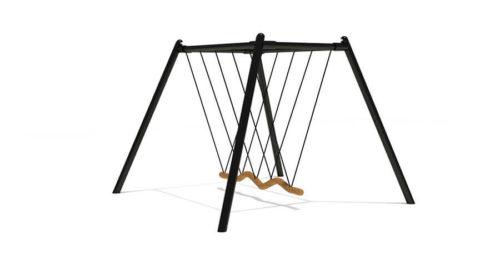 Zwarte roestvrij stalen familieschommel met zitting van touw - Schommels - Speeltoestellen - LuduQ speeltoestellen