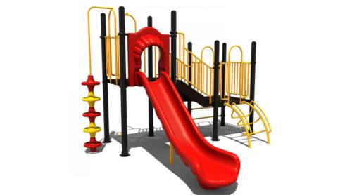 Klein geel klimtoestel met rode glijbaan en accenten - Klimtoestellen met glijbaan - Speeltoestellen - LuduQ speeltoestellen