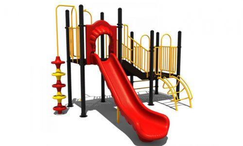 Ede is een speeltoestel van metaal met glijbaan- Klimtoestellen met glijbaan - Speeltoestellen - LuduQ speeltoestellen