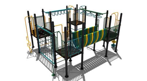 Kleurrijk klimtoestel met hang- en draai-elementen - Klimtoestellen - LuduQ Speeltoestellen