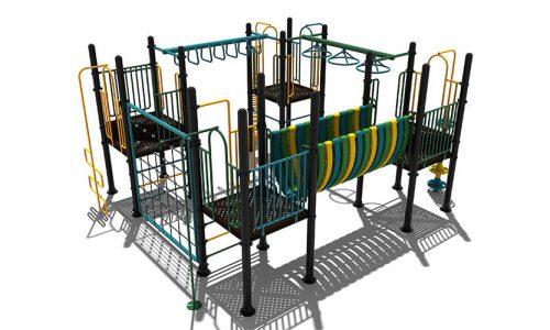 Grou is een klimtoestel van metaal met uitdagende elementen en een rondgang - Klimtoestellen - LuduQ Speeltoestellen