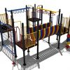 Vierkant kleurrijk klimtoestel met verschillende speelelementen en roestvrij stalen glijbaan - Klimtoestellen met glijbaan - Speeltoestellen - LuduQ speeltoestellen