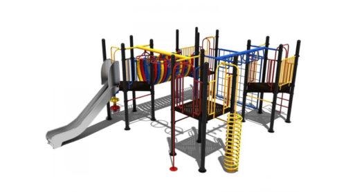 Groot vierkant kleurrijk klimtoestel met veel elementen - Klimtoestellen met glijbaan - Speeltoestellen - LuduQ speeltoestellen