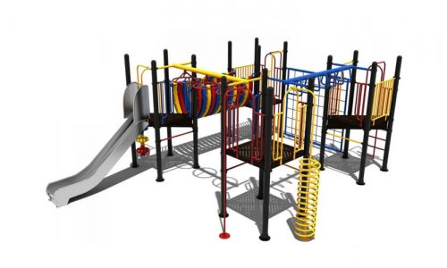 Nes is een speeltoestel van metaal met rvs glijbaan - Klimtoestellen met glijbaan - Speeltoestellen - LuduQ speeltoestellen