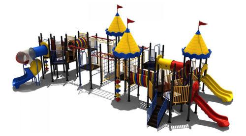 Groot kleurrijk klimtoesetel met torens en glijbanen - Klimtoestellen met glijbaan - Speeltoestellen - LuduQ speeltoestellen