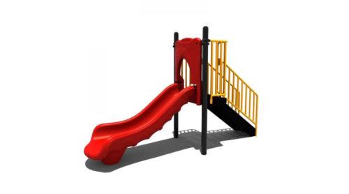 Zijkant rode glijbaan kunststof - Klimtoestellen met glijbaan - Speeltoestellen - LuduQ speeltoestellen