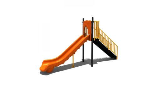 Oranje kunststoffen glijbaan van voren - Glijbanen - Speeltoestellen - LuduQ speeltoestellen