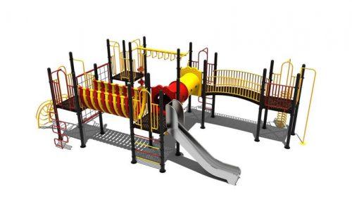 Zoetermeer is een speeltoestel van metaal met rvs glijbaan - Klimtoestellen met glijbaan - Speeltoestellen - LuduQ speeltoestellen