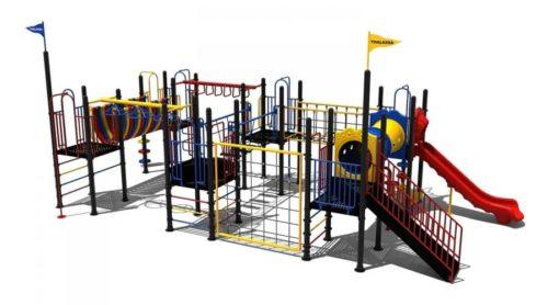 Klimtoestel met klimwand en glijbaan - Klimtoestellen met glijbaan - Speeltoestellen - LuduQ speeltoestellen