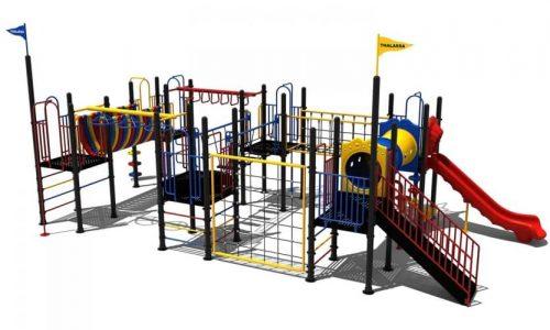 Thalassa speeltoestel van metaal met glijbaan - Speeltoestellen - LuduQ speeltoestellen