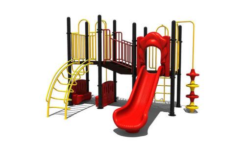 Voorkant geel klimtoestel met rode glijbaan en accenten - Klimtoestellen met glijbaan - Speeltoestellen - LuduQ speeltoestellen