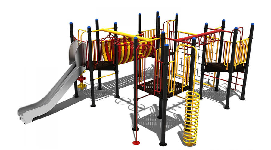 Voorkant groot klimtoestel met hangelementen en glijbaan - Klimtoestellen met glijbaan - Speeltoestellen - LuduQ speeltoestellen